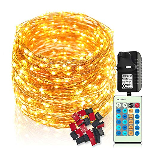 Fairy Lights LED String Lights - 30M 300 LEDs Copper Wire Lights Waterproof, Dimmable with Remote Control, Decorative Twinkle Starry Lights for Indoor Outdoor Garden Wedding Christmas (Warm White)