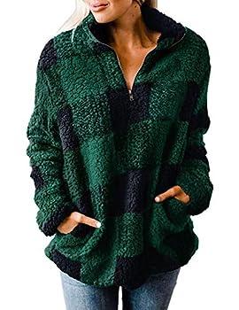 MEROKEETY Women s Plaid Sherpa Fleece Zip Sweatshirt Long Sleeve Pockets Pullover Jacket Green L
