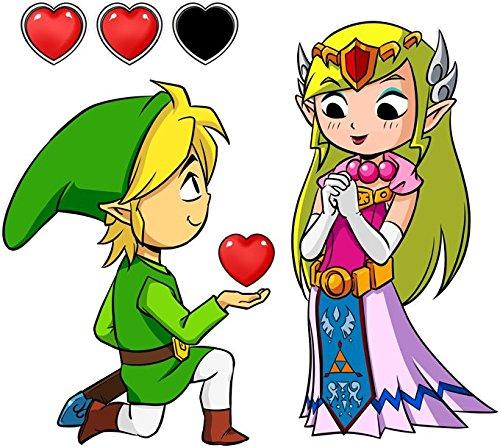 Okiwoki T-Shirt Noir Zelda parodique Link et la Princesse Zelda : Un héros offrant Son Coeur à sa Belle Princesse. (Parodie Zelda)