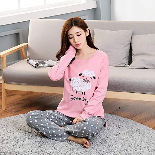 Pijama Para Mujer,Ovejas De Dibujos Animados Impreso Pjs Pijama Set De Dos Piezas Manga Larga Tops Pantalones Loungewear Nightwear Casual Thin Sleep Lounge Jogging Homewear Para Adultos Damas Traje