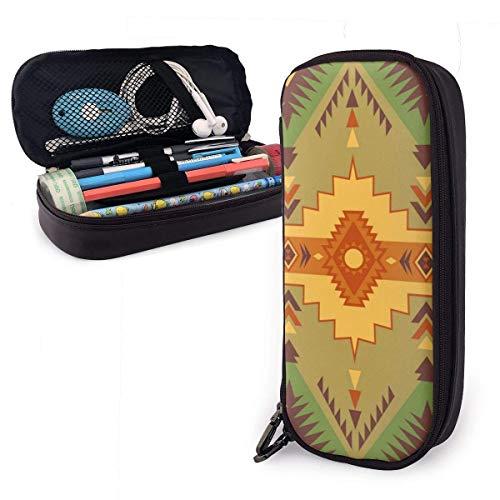 Nativo del sudoeste americano n Azteca Navajo Estuche lápices cuero Microfibra Pu Cuero Papelería Portalápices Estuche bolígrafos Estuche Unise