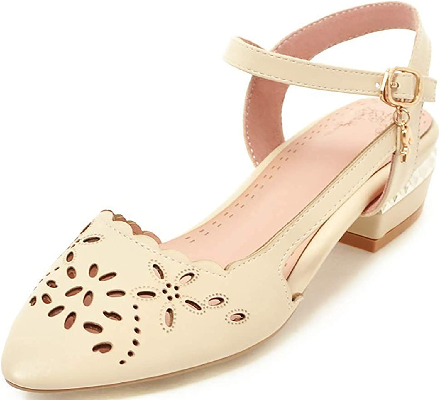 Wallhewb Women's Elegant Cut Out Pointed Toe Ankle Strap Low Chunky Heel Pumps Sandals Evening Dress Party Open Back Leather No Grinding Feet Ankle Strap Low Top Fashion Pink 8 M US Pumps Sandals