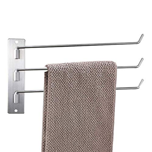 Meijubol Rotating Towel Rail Stainless Steel Swivel Towel Rack with 3 Arms Wall Mounted Swing Towel Holder for Kitchen, Bathroom, Toilet