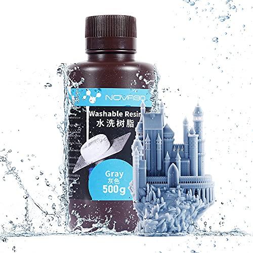 NOVA3D Resina UV lavabile 405 nm 3D Resina per stampante LCD/SLA 500 g, Grigio