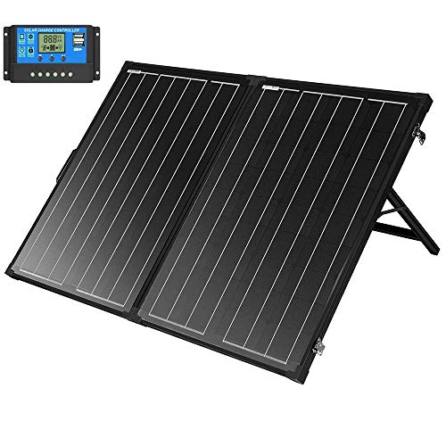 SUNGOLDPOWER Solarpanel 130W 12V Off Grid Monokristallin Tragbarer Monokristallin Solarmodule Faltbarer Solar-Koffer mit 10A Solar Ladegerät Controller
