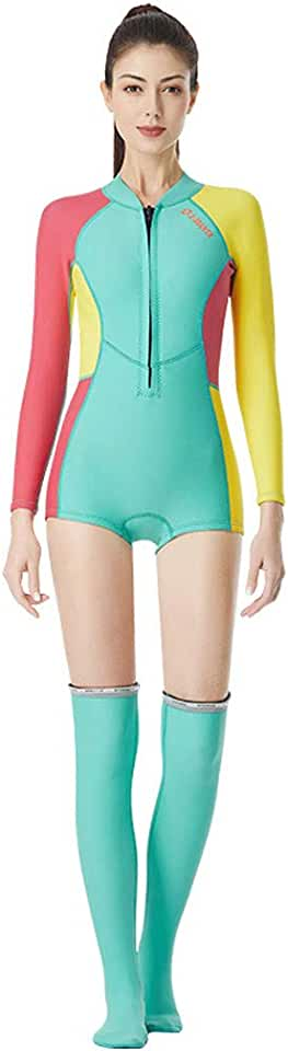 Fhuiml Women's 1.5MM 1PC Wetsuit Long Sleeve Sport Swimsuit Surf with Snorkeling Stockings