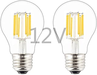 OPALRAY 12V-24V Low Voltage Input LED Bulb, Classic A19(A60) Style, 8W 800Lm, Dimmable with 12V DC Dimmer, E26 Medium Base Lamp, Warm White Light, 80 Watts Incandescent Equivalent, 12V Power, 2-Pack