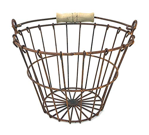 "Wire Egg Basket 6"" H 8"" Dia Rust"