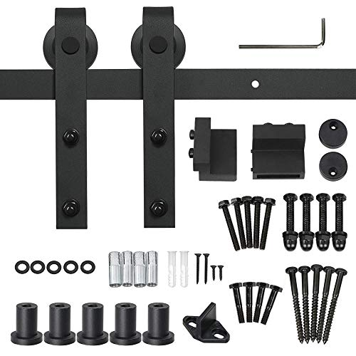 Yaheetech 6.6 FT Black Antique Style Steel Sliding Wood Barn Door Hardware Closet Doors Track Kit Set