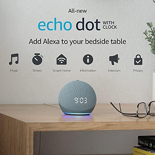 Echo Dot (4th generation) | Smart speaker with clock and Alexa | Twilight Blue