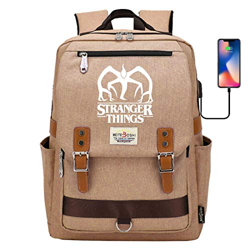 Laptop Backpack Student Learning Backpack USB Interface Rechargeable Leisure Backpack Large Yellow
