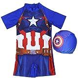 JLWF Kinder-Badeanzug Spider-Man Superhero Boys Siamese Sunscreen Soft Swimwear Captain America- L (4~6 Years Old)