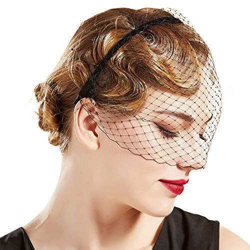 Coucoland Damen Elegant Fascinator Schleier Haarreif 1920s Stirnband Hochzeit Cocktail Party Mystische Maske Haarreif Damen Halloween Fasching Kostüm Accessoires (Schwarz)