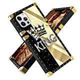 Fiyart iPhone 12 PRO MAX 6.7 INCH 2020 Case King Diamond Crown Luxury Square Soft TPU and Hard PC Back Stylish Retro Cover