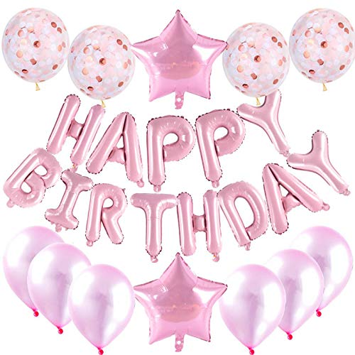 Decoración de cumpleaños, guirnalda Happy Birthday Globos, letras, globos con forma de corazón, guirnalda Happy Birthday Decorations Balloon (rosa)