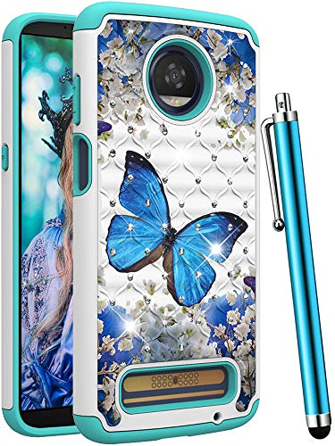 CAIYUNL for Moto Z3 Case, Moto Z3 Play Case,Dual Layer Shockproof Protective Phone Case Hard Bumper & TPU Women Men Bling Glitter Sparkle Studded Rhinestone Cover for Motorola Moto Z3-A Blue Butterfly