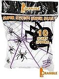 BRAMBLE! Decoración para Halloween 10 arañas y 60g de Telas de araña – Paquete de Oferta