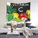 N/A Tapiz para colgar en la pared, un conjunto de vitaminas C para frutas y verduras, decoración para el hogar, sala de estar, dormitorio, 152 x 51 pulgadas