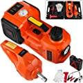 Bestauto 3 Ton Electric Jack 12V Electric Car Jack Set 3 in 1 Electric Hydraulic Floor Jack with Impact Wrench and LED Light