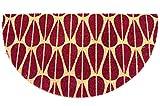Felpudo de coco natural Joker Mezzaluna con base de goma de PVC con diseño de hojas rosas para entrada, resistente, lavable, antideslizante (40 x 75 cm), color rojo