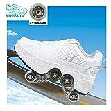 WEDSGTV Patins à roulettes Inline Skate Shoes ,Tyrant White Roller Skates Inline Chaussures ,Patins Adultes pour Hommes Et Femmes,WhiteA-37