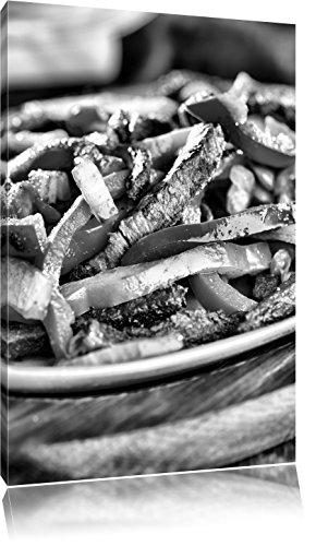 Fleischpfanne mit Paprika als Leinwandbild | Größe: 120x80 cm | Wandbild| Kunstdruck | fertig bespannt