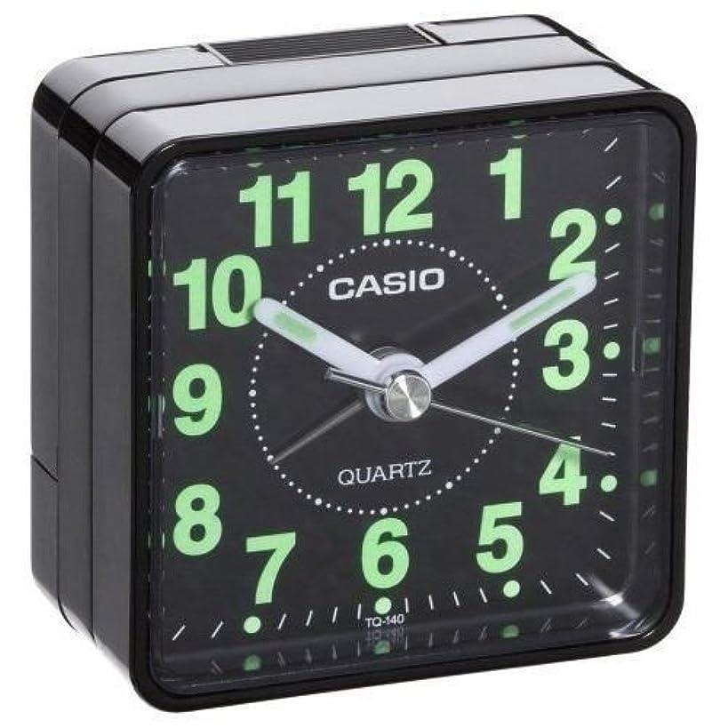 Casio TQ-140-1EF TQ140 black travel quartz alarm clock Illuminous hands numbers ;FW892HJT23T420742