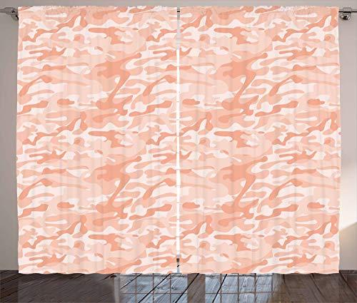 ABAKUHAUS Tarnen Rustikaler Gardine, Weiche Pfirsichfarben, Schlafzimmer Kräuselband Vorhang mit Schlaufen und Haken, 280 x 175 cm, Lachs Pfirsich