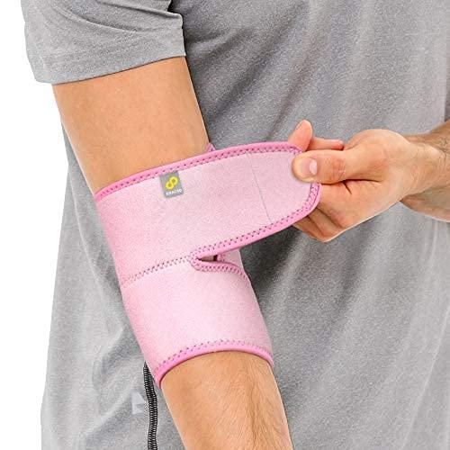 BRACOO ES10 Ellenbogenbandage - Bandage Ellenbogen - atmungsaktive Ellenbogenstütze mit Klettverschluss für Damen und Herren (Rosa)