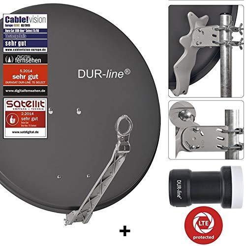 DUR-line 1 Teilnehmer Set - Qualitäts-Alu-Satelliten-Komplettanlage - Select 75cm/80cm Spiegel/Schüssel Anthrazit + Single LNB - für 1 Receiver/TV [Neuste Technik, DVB-S2, 4K, 3D]