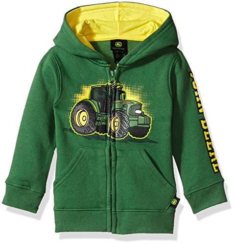 John Deere Tractor Infant Toddler Boy Zip Front Fleece Hoody Sweatshirt, green, 2T