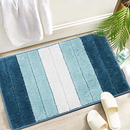 Capslpad 45 x 65 cm Badematte, Mikrofaser, weich, rutschfest, saugfähig, für Badezimmer, Badewanne, Dusche, Küche, Blau