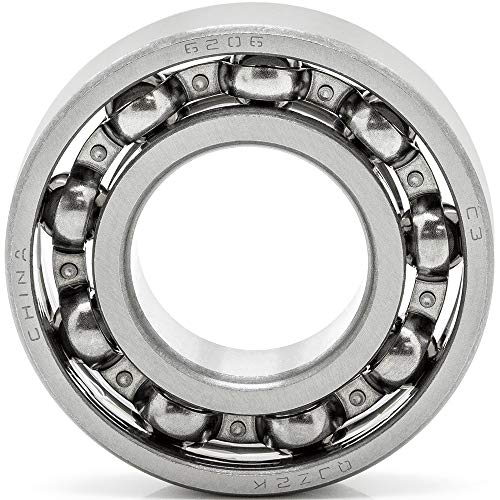 [1-Pack] 6206-OPEN - Deep Groove Radial Ball Bearing 30 mm x 62 mm x 16 mm (ID x OD x Width) Open Style Seal Clearance C3