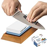 Professional Knife Sharpener Stone-Dual 1000/6000 Japanese Grit Whetstone-Knife Sharpening Stone Kit...