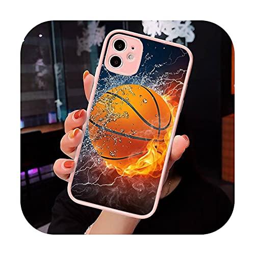 Baloncesto llama fuego Color teléfono caso mate transparente para iPhone 7 8 11 12 s Mini pro X XS XR MAX Plus cubierta funda-a12-iPhone X