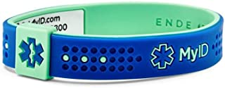 myID Sport Medical ID Bracelet Navy/Turquoise MD - Free Medical Profile To Store Medical Information - Lightweight Silicone Material - Great for Those with Diabetes, Autism, Etc - Fits Kids & Adults