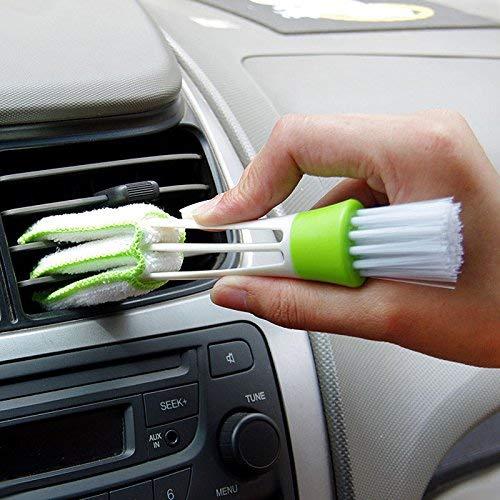 LuoOnlineZ Brosse de nettoyage portable à double extrémité pour grille d'aération de voiture