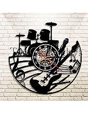 Musik vinylskiva väggklocka, rockband vinyl CD-klockor, tyst väggklocka heminredning gåvor för fans med LED