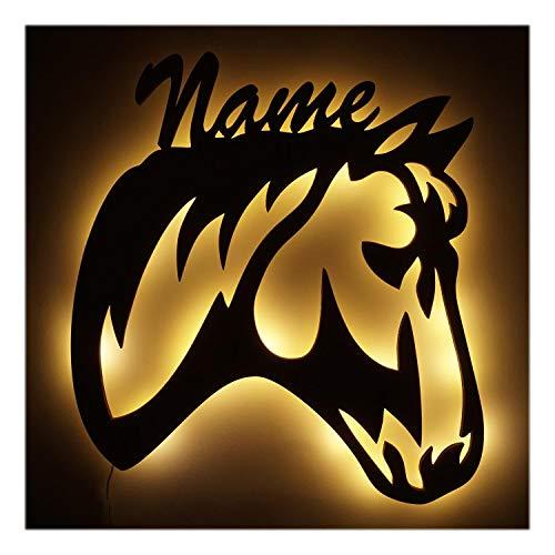 3D Holz Design Motiv Elektronik Lampe Pferde-Kopf Deko-Ration Horse Pferd Geschenk-e mit Name-n für Frauen Mädchen Kind-er Junge-n Frau Zimmer-Einrichtung Kinder-Geburtstag