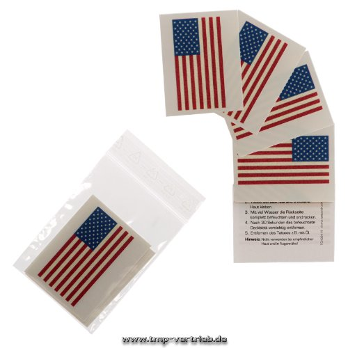 5 x Amerika Tattoo Fan Fahnen Set - America temporary tattoo Flag (5)
