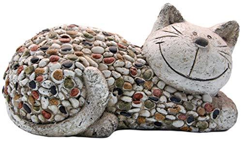 Country Living Mosiac Polystone Cat Garden Ornament Figurine