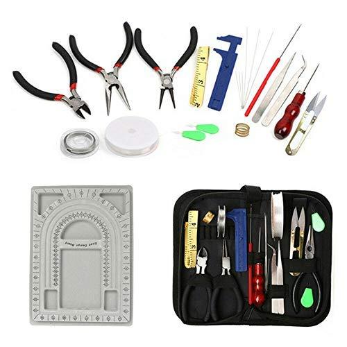 Yizunnu Juego de 23 piezas para hacer joyas, herramientas de reparación de bricolaje, alicates de cuentas y alambres, juego de tablero de diseño