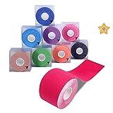 Cinta de kinesiología Goalwoo, rollo deportivo de 5cm x 5m, cinta de fisioterapia impermeable y transpirable, para ayudar a sanar y prevenir lesiones de músculos y articulaciones