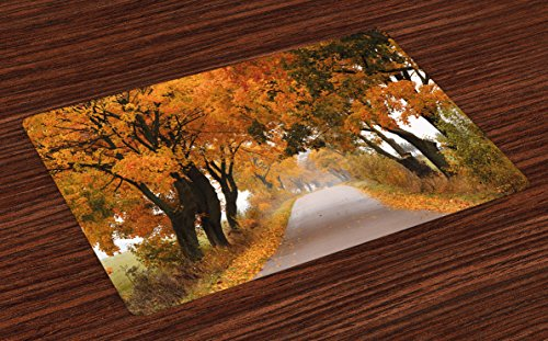 Ambesonne Fall Place Mats Set of 4, Fall Season in Poland Road with Colorful Vibrant Maple Trees Serenity Theme, Washable Fabric Placemats for Dining Room Kitchen Table Decor, Yellow Orange