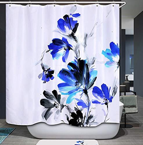 Duschvorhang mit Metallhaken, 182,9 x 182,9 cm dick, strapazierfähiger Stoff, Badezimmer-Duschvorhang-Set mit Haken, kein chemischer Geruch, rostwiderstandsfähige Ösen, moderne Heimdekorationen, blaue Blumen