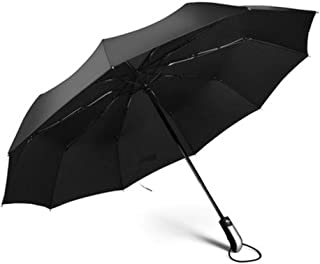 Automatic Folding Umbrella, 10 Rib Reinforcement, Easy to Carry One-Button Open Suitable for Both Men and Women ,with Ergonomic Handle (Black)