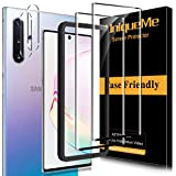 [2+2 Pack] UniqueMe Screen Protector and Camera Lens Protector for Samsung Galaxy Note 10 Plus Tempered Glass,3D Full Coverage Film HD [Alignment Frame Easy Installation]Edge to Edge Protection
