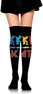 Nice-Guy, Skater Retro Pop Art Skateboarding Medias de compresión para mujer Calcetines altos sobre la rodilla Medias altas