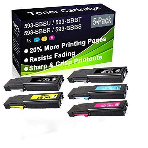 5-Pack (2BK+C+Y+M) Compatible C2660, C2660dn, C2665dnf Laser Toner Cartridge (High Capacity) Replacement for Dell 593-BBBU 593-BBBT 593-BBBR 593-BBBS Printer Toner Cartridge