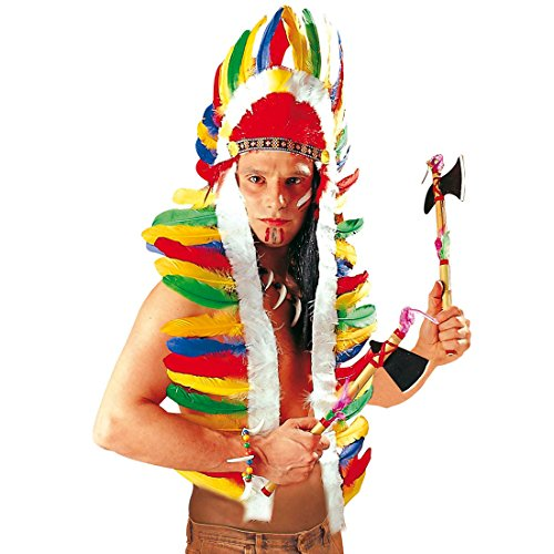 Amakando Indianer Kopfschmuck Häuptling Federhaube lang 160 cm Western Feder Haube Federkopfschmuck Apachen Rothaut Squaw Wilder Westen Federschmuck Fasching Cowboy Karneval Kostüm Zubehör
